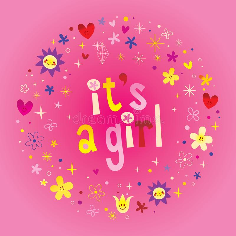 Its a girl card. Its a girl greeting card royalty free illustration