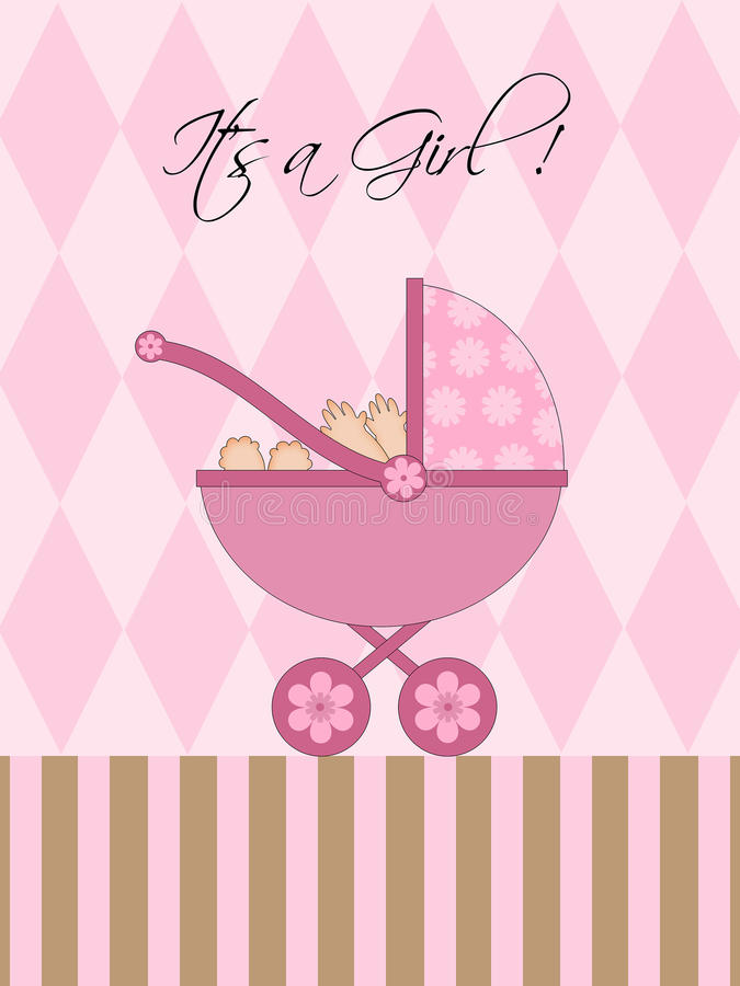 Its A Girl Pink Baby Pram. Carriage with Background Illustration vector illustration