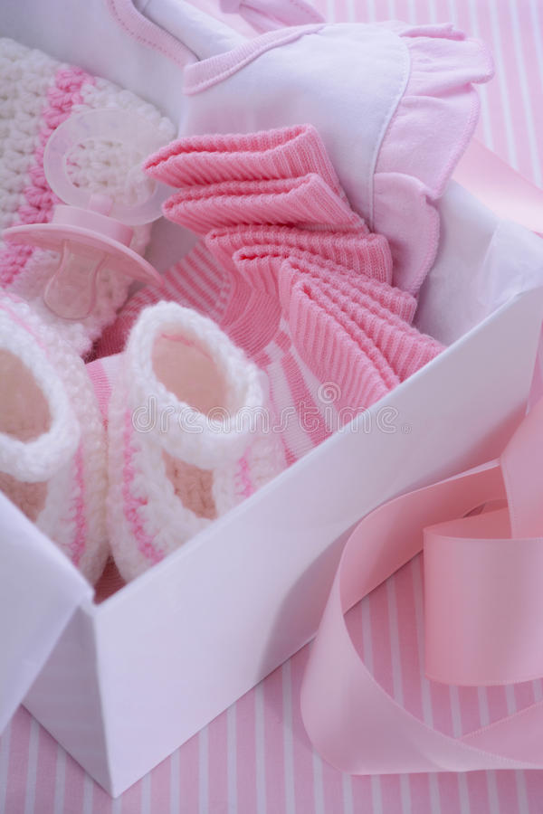 Its a Girl pink theme baby shower gift box stock images