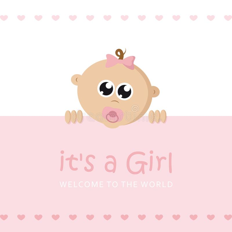 Its a girl welcome greeting card for childbirth with baby face. Vector illustration EPS10 vector illustration