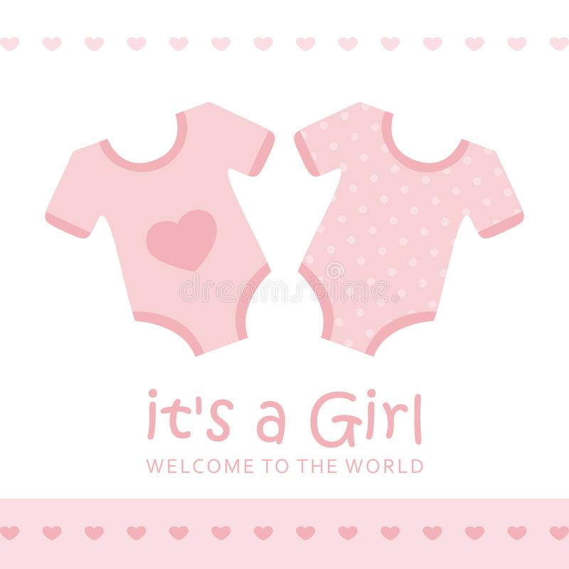 Its a girl welcome greeting card for childbirth with bodysuit. Vector illustration EPS10 royalty free illustration