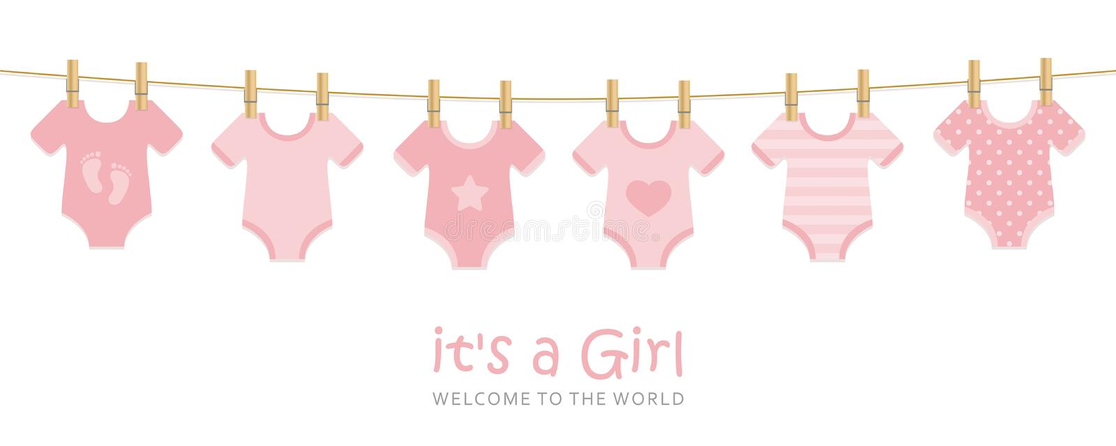 Its a girl welcome greeting card for childbirth with hanging baby bodysuits. Vector illustration EPS10 stock illustration