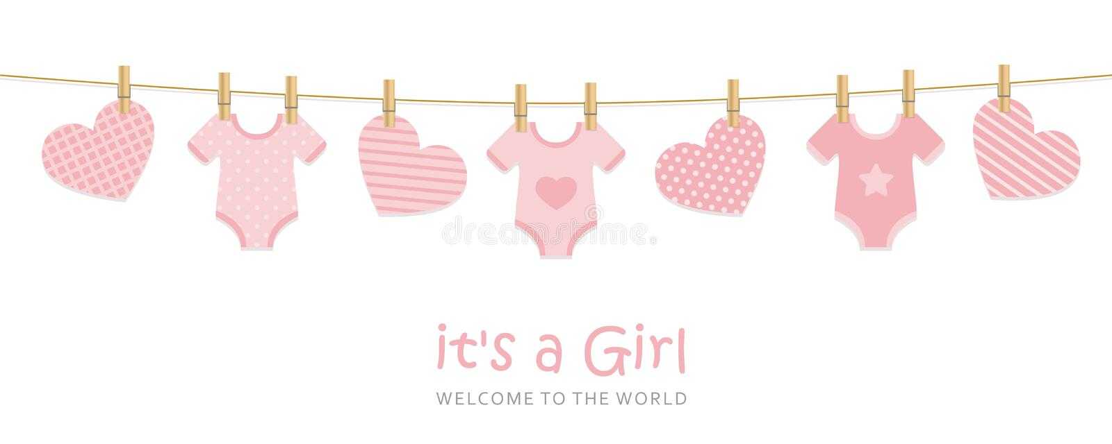 Its a girl welcome greeting card for childbirth with hanging hearts and bodysuits. Vector illustration EPS10 royalty free illustration