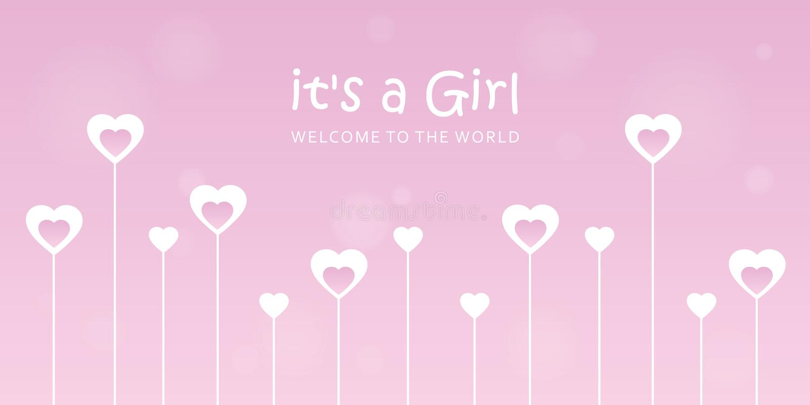 Its a girl welcome greeting card for childbirth with hearts. Vector illustration EPS10 vector illustration