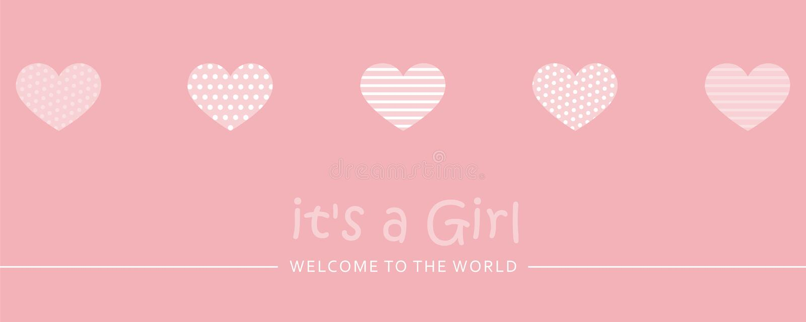 Its a girl welcome greeting card for childbirth with hearts. Vector illustration EPS10 stock illustration