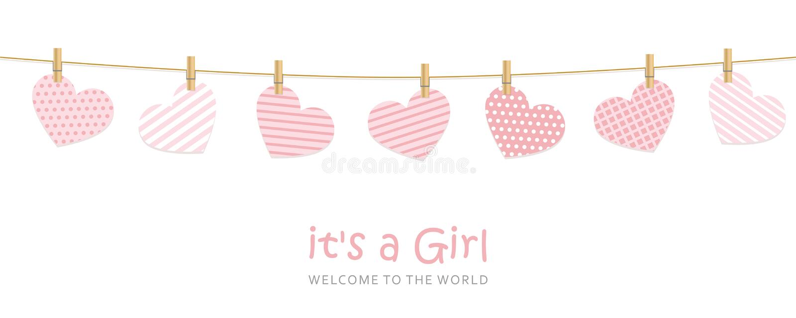 Its a girl welcome greeting card for childbirth. Vector illustration EPS10 royalty free illustration