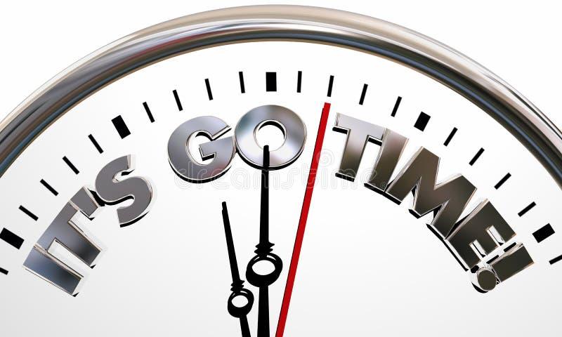 Its Go TIme Start Begin Clock Ticking Words. 3d Illustration stock illustration