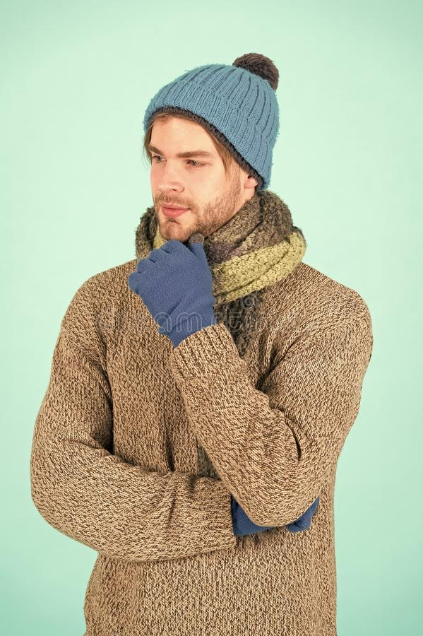Its holiday time. Man wear warm clothes during winter holiday. Handsome man got cold and flu in winter. Cold season. Ahead stock photo