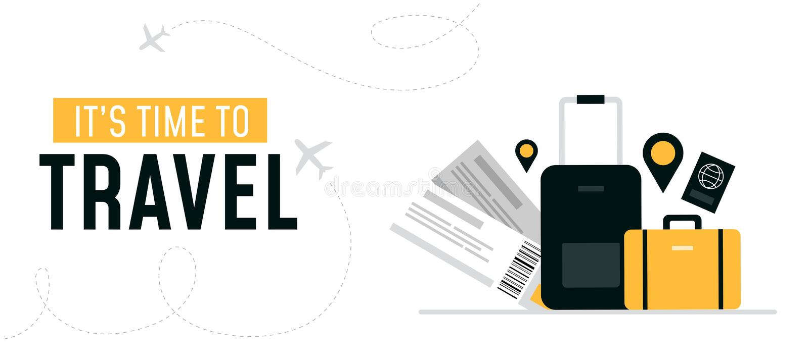 Its time to travel design banner vector illustration