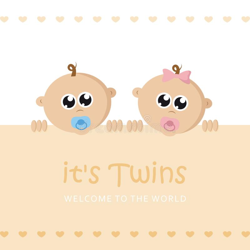 Its twins boy and girl welcome greeting card for childbirth with baby face. Vector illustration EPS10 royalty free illustration
