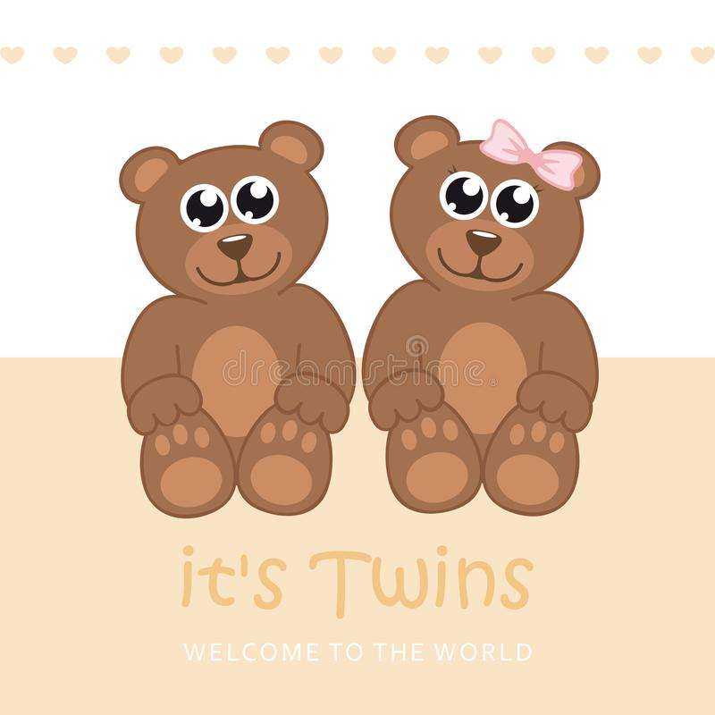 Its twins boy and girl welcome greeting card for childbirth with teddy bear. Vector illustration EPS10 royalty free illustration