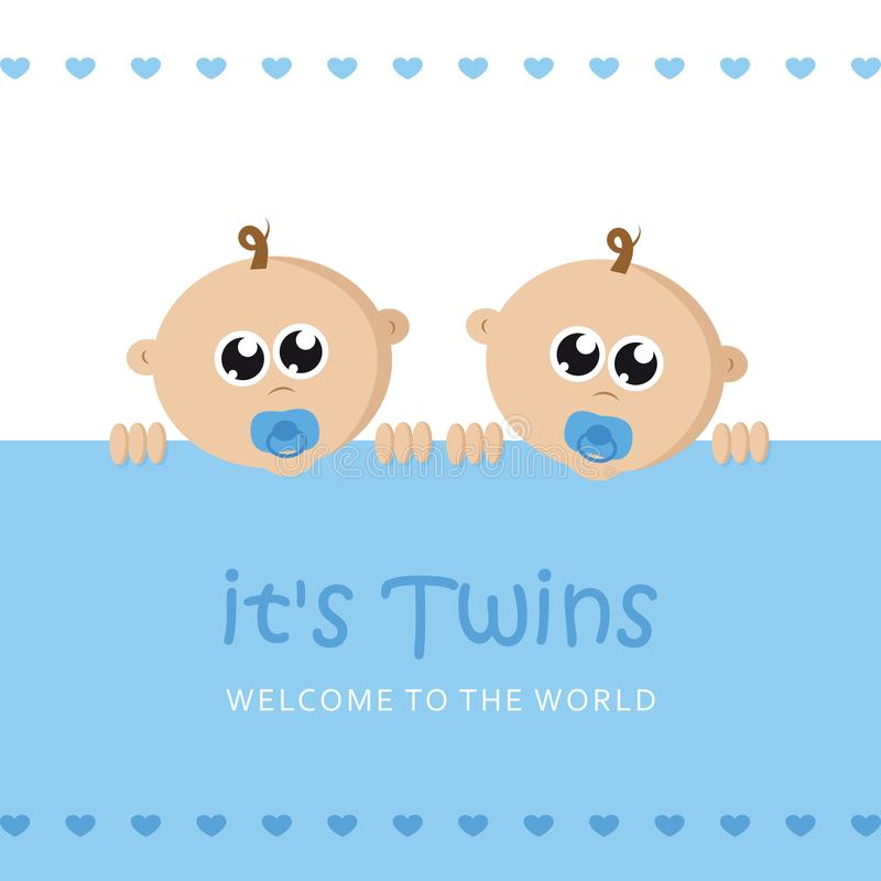 Its twins boy welcome greeting card for childbirth with baby face. Vector illustration EPS10 royalty free illustration