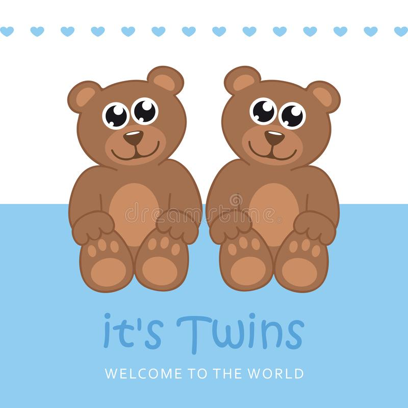 Its twins boy welcome greeting card for childbirth with teddy bear. Vector illustration EPS10 stock illustration