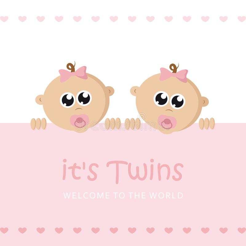 Its twins girl welcome greeting card for childbirth with baby face. Vector illustration EPS10 vector illustration