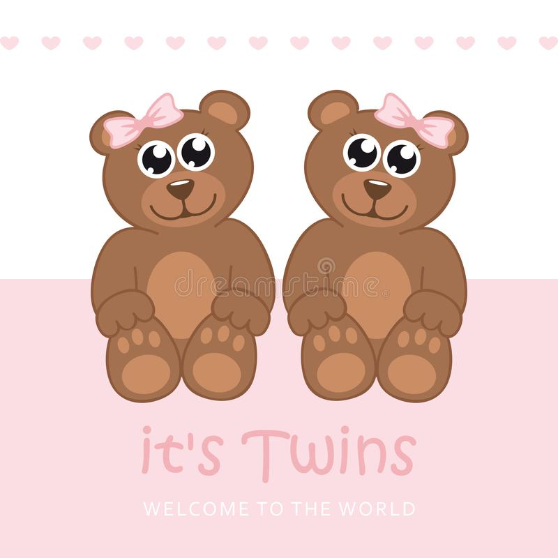Its twins girl welcome greeting card for childbirth with teddy bear. Vector illustration EPS10 vector illustration