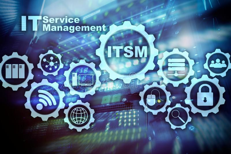 ITSM. IT Service Management. Concept for information technology service management on supercomputer background. ITSM. IT Service Management. Concept for royalty free stock photos