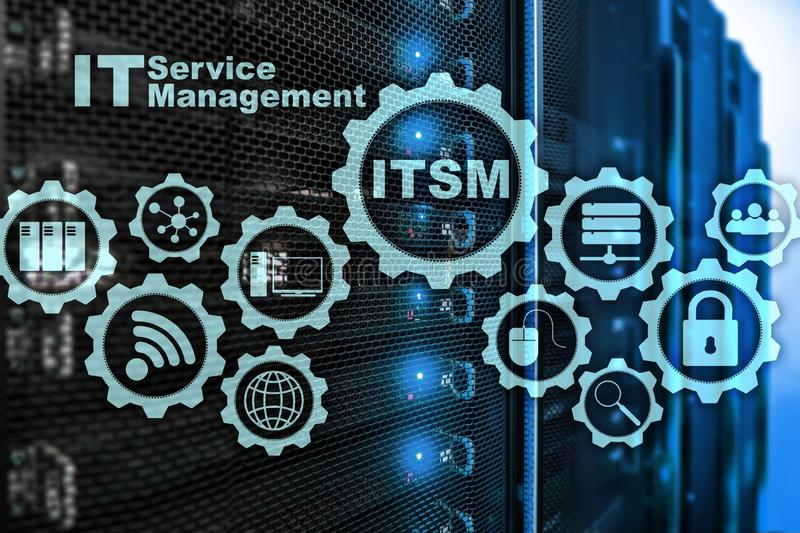 ITSM. IT Service Management. Concept for information technology service management on supercomputer background. ITSM. IT Service Management. Concept for stock image