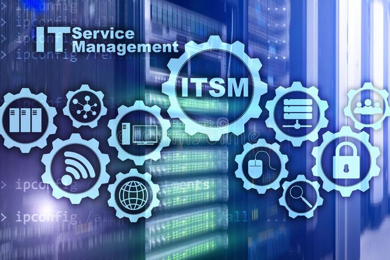 ITSM. IT Service Management. Concept for information technology service management on supercomputer background. ITSM. IT Service Management. Concept for royalty free stock images
