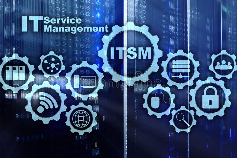 ITSM. IT Service Management. Concept for information technology service management on supercomputer background. ITSM. IT Service Management. Concept for stock photo