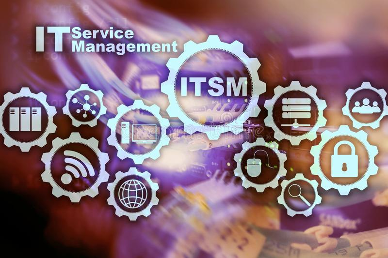 ITSM. IT Service Management. Concept for information technology service management on supercomputer background.  royalty free stock images