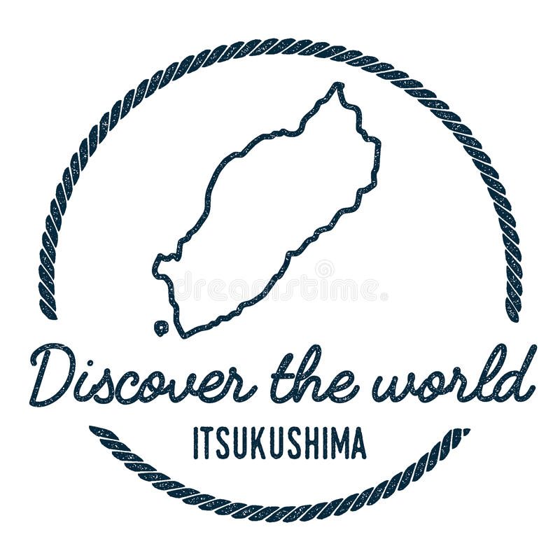 Itsukushima Map Outline Vintage Discover The Stock Vector
