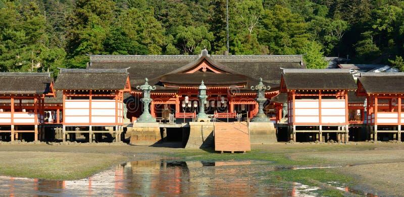 Itsukushima Shrine. During low tide on Miyajima Island, Japan stock photography