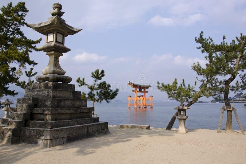 Itsukushima Shrine. Tori gate of the Itsukushima Shrine on Miyajima Island, near Hiroshima, Japan stock photos