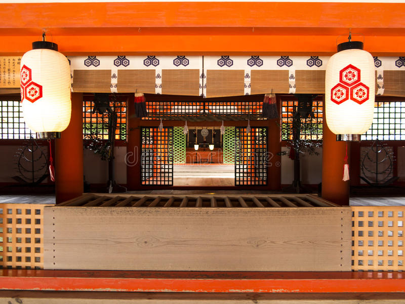 Itsukushima Shrine altar, Miyajima. Island, Japan stock photos