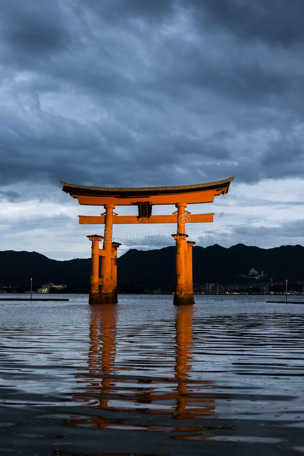 Itsukushima Shrine at dusk royalty free stock photo