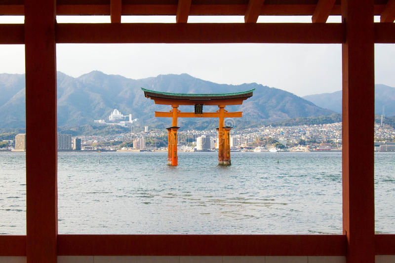 Itsukushima shrine, floating Torii gate, Miyajima island, Japan. stock images