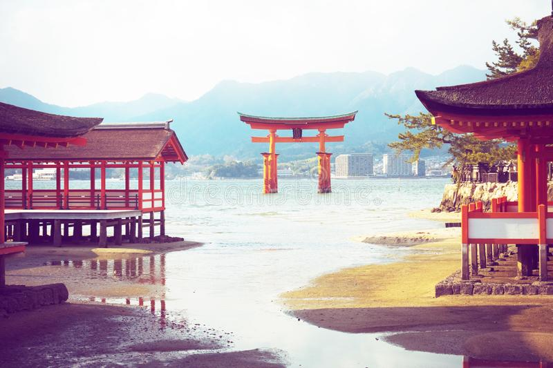 Itsukushima shrine, floating Torii gate, Miyajima island, Japan. royalty free stock image