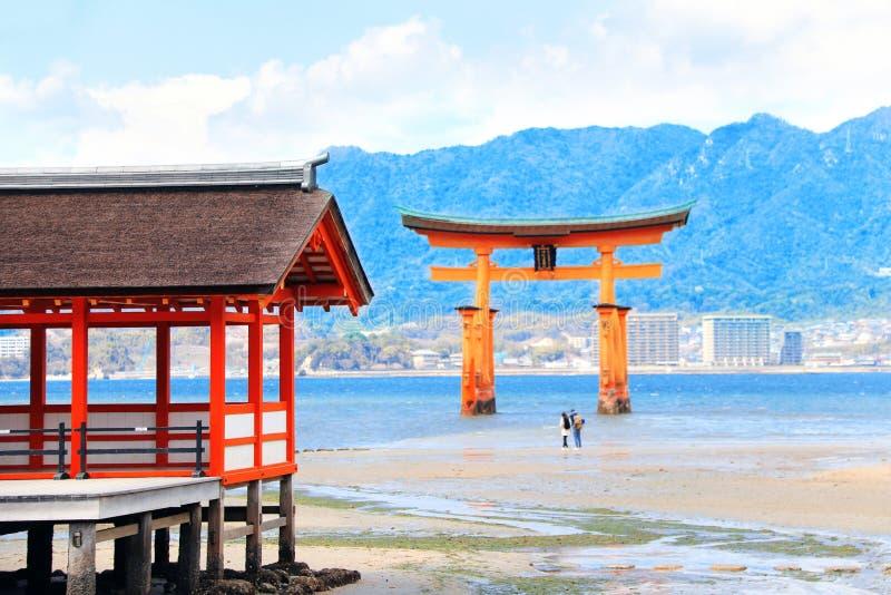 Itsukushima Shrine and Floating Torii gate, Miyajima island, Japan. Pavilion of Itsukushima Shrine and Floating Torii gate O-Torii, sacred Miyajima island royalty free stock images