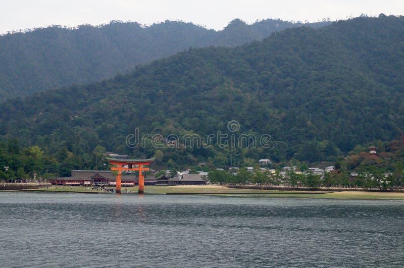 Itsukushima shrine in Miyajima island. Panoramic view from the sea of Itsukushima shrine stock photos