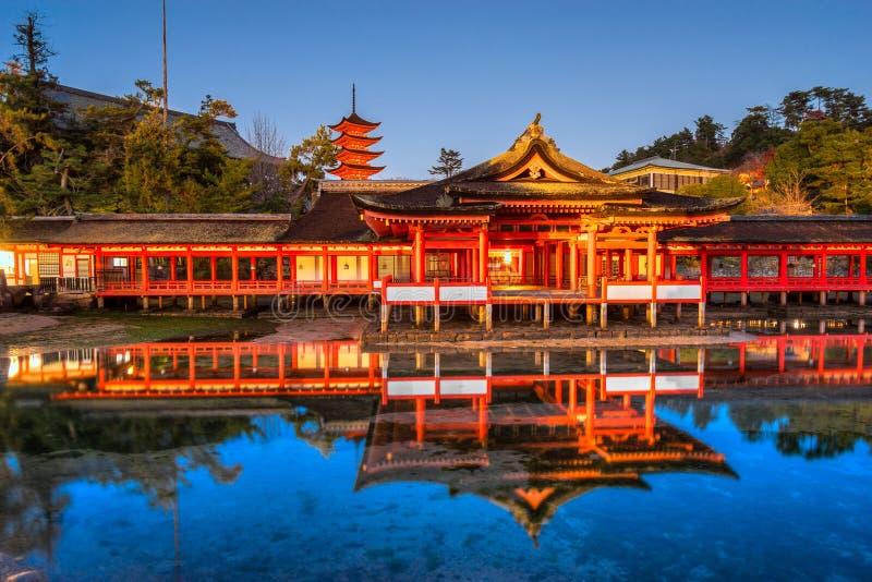 Itsukushima Shrine, Miyajima, Japan. Itsukushima Shrine at night, Miyajima, Japan stock photography