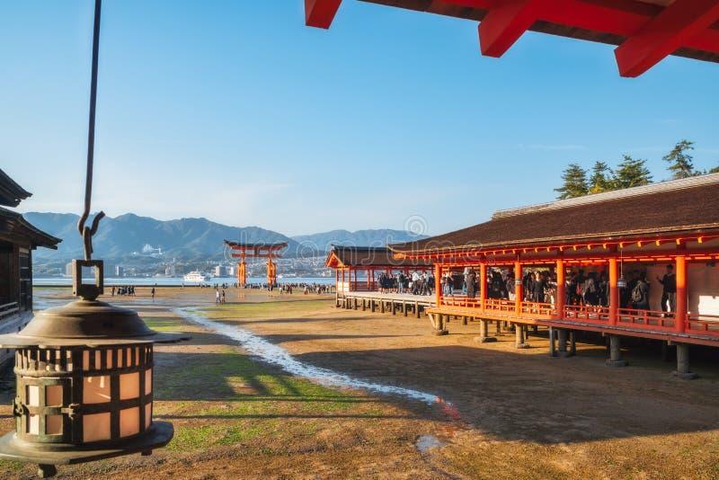 Itsukushima Shrine open air stage and corridors, Miyajima Island, Japan. Miyajima Island, Hiroshima, Japan -November 7, 2018: Itsukushima Shrine - Hira-butai royalty free stock photo