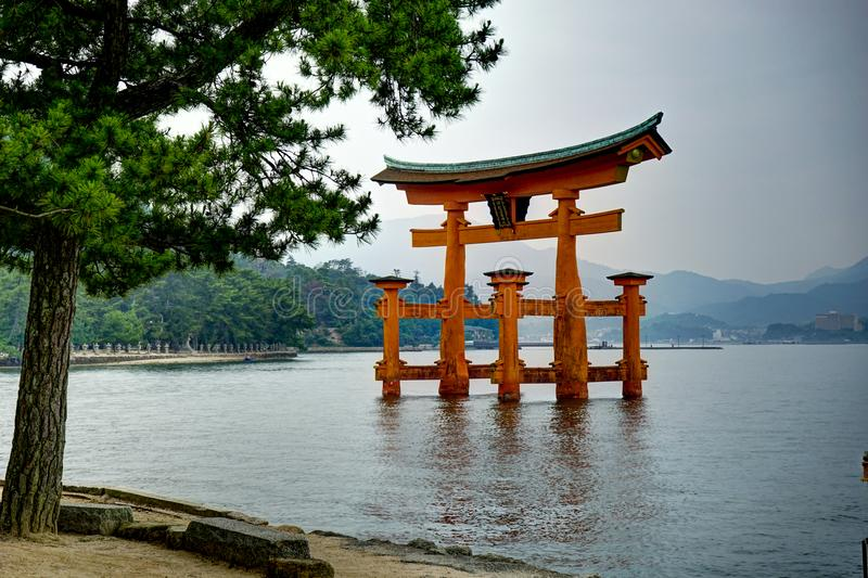 Itsukushima Torii Shrine Miyajima Island Japan. Miyajima Island, Hiroshima, Japan October 2017 Itsukushima Torii Shrine royalty free stock photos