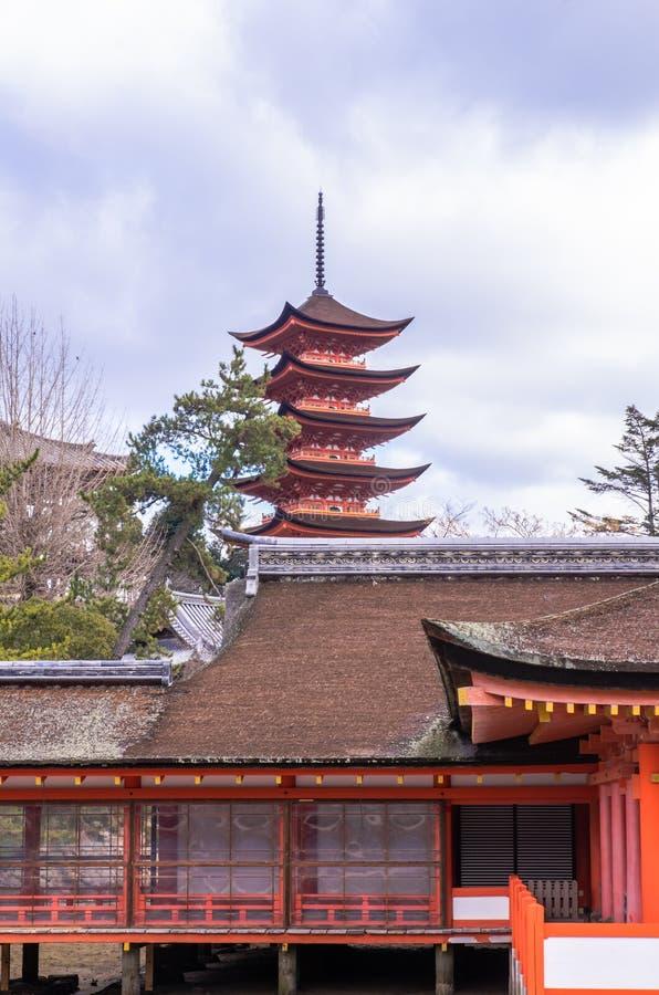 Itsukushimaheiligdom in Miyajima, Japan royalty-vrije stock foto