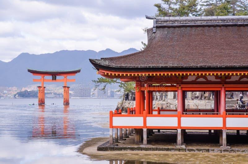 Itsukushimaheiligdom in Miyajima, Japan royalty-vrije stock fotografie