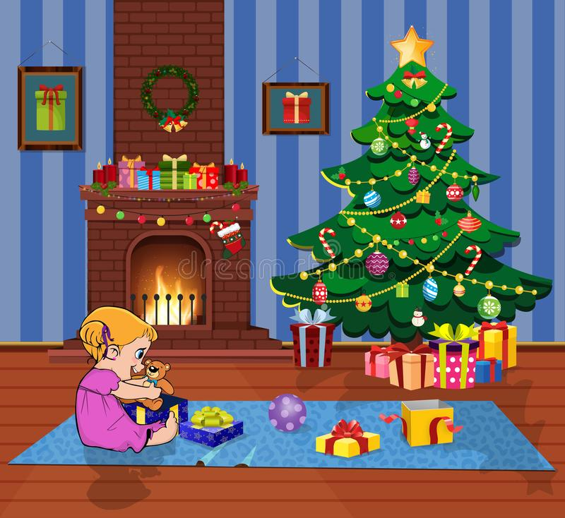 Ittle baby girl open gift boxes with presents in living room with Christmas tree and fireplace stock illustration