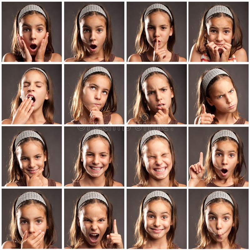 Ittle girl portraits with diferent expressions stock image