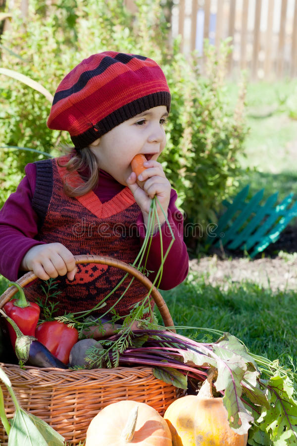 Ittle girl sits on a grass stock image