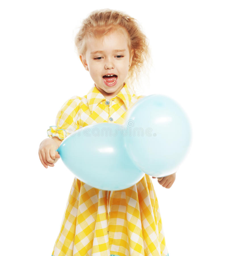 Ittle-Mädchen mit blauen Ballonen stockbild