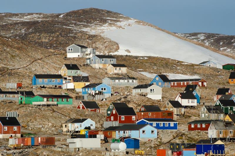 Ittoqqortoormiit Village - Greenland. Ittoqqortoormiit Arctic Village in Greenland royalty free stock image