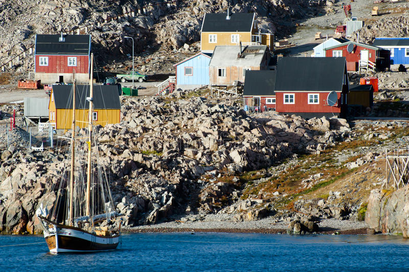 Ittoqqortoormiit Village - Greenland. Ittoqqortoormiit Arctic Village in Greenland royalty free stock images