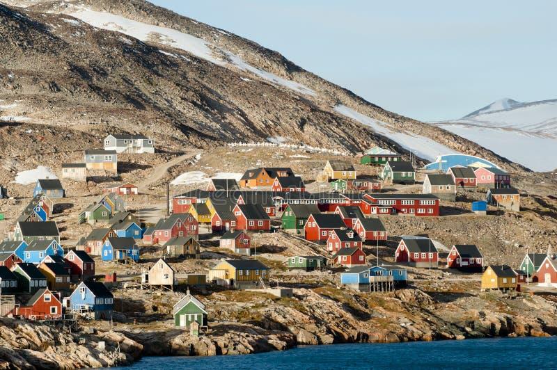 Ittoqqortoormiit Village - Greenland. Ittoqqortoormiit Arctic Village in Greenland royalty free stock photo