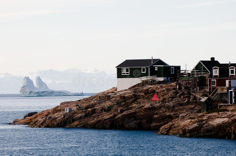 Ittoqqortoormiit Village - Greenland. Colorful Ittoqqortoormiit Village in Greenland royalty free stock photography