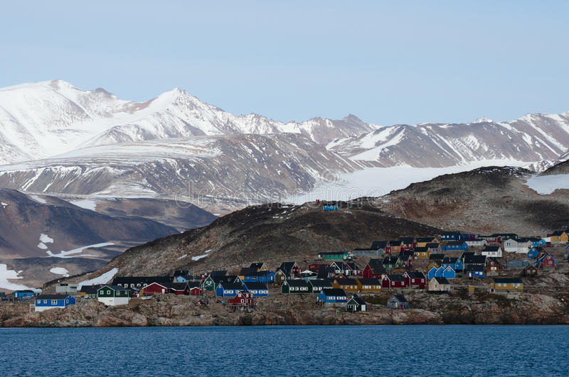 Ittoqqortoormiit village in Greenland royalty free stock photography