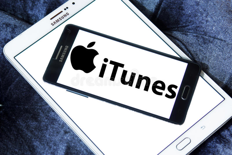 Itunes logo. Logo of itunes on samsung mobile. itunes is a media player, media library, online radio broadcaster, and mobile device management application stock images