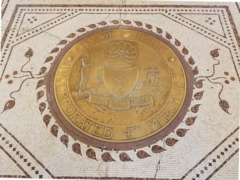 Ity de Chicago a incorporé la plaque sur un plancher de mosaïque photos libres de droits