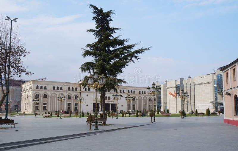 ity główny plac przy wieczór, Skopje zdjęcia royalty free